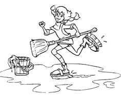 #Pippi Longstocking washing day #coloring page Colouring Pages, Coloring Pages For Kids, Coloring Books, Kindergarten Portfolio, Pippi Longstocking, Book Study, Book Themes, Digi Stamps, Diy For Kids