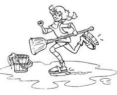 #Pippi Longstocking washing day #coloring page