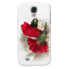 Red Carnations on Brocade Galaxy S4 Case
