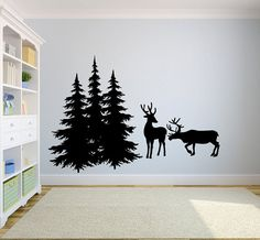 Deer and Pine Trees Vinyl Wall Decal by LuckyLabradorsDecals