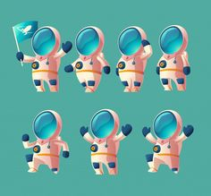 Buy Vector Set of Cartoon Spaceman, Moving Cosmonaut by vectorpocket on GraphicRiver. Vector set of cartoon spaceman kid, moving cosmonaut in spacesuit, child in helmet isolated on blue background. Game Character, Character Concept, Character Design, Free Vector Images, Vector Free, Astronaut Illustration, Space Illustration, Inktober, Planet Vector