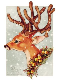 Christmas Reindeer Holiday Cheer     :: Art is copyright © Heather Hitchman