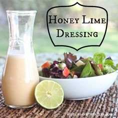 Lime Dressing for Honey Lime Salad Dressing recipe - it will be your new favorite dressing!Honey Lime Salad Dressing recipe - it will be your new favorite dressing! Lime Salad Dressing, Honey Lime Dressing, Salad Dressing Recipes, Vingerette Dressing, Avacado Dressing, Balsamic Dressing, Salad Bar, Soup And Salad, Sauces