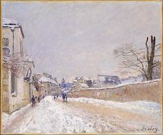 Alfred Sisley (British, 1839–1899). Rue Eugène Moussoir at Moret: Winter, 1891. The Metropolitan Museum of Art, New York. Bequest of Ralph Friedman, 1992 (1992.366) | Shortly after Courbet exhibited a group of snowy landscapes in 1867, several younger artists, among them Monet, Renoir, and Sisley, explored the possibilities of landscapes executed in white or gray with just a few touches of bright color. #snow