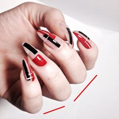 Geometry, Suprematism, Geometric hails, Beautiful nails, Red nails, Nail art