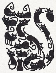 Cat o Cats Embroidered Flour Sack Hand/Dish Towel Crazy Cat Lady, Crazy Cats, I Love Cats, Cool Cats, Black Cat Art, Black Cats, Gatos Cats, Cat Silhouette, Cat Drawing