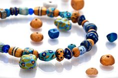 Blue Colorful Statement Necklace Beaded Paper by GaiasBEADSandBAGS