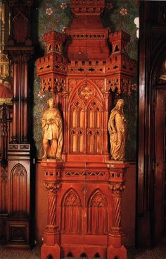 Ceramic Stove with Carvings - Bedroom -Neuschwanstein Castle, Bavaria (figurines of Tristan & Isolde)