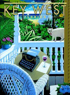porches key west | George Chase Prints Key West Porch Florida Style, Florida Keys, South Florida, Caribbean Art, Victorian Cottage, Cottage Style Homes, Coastal Cottage, Key West, Miami Beach