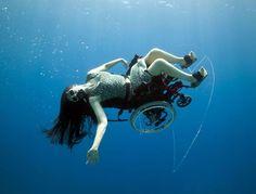 Sue Austin in her underwater wheel chair.