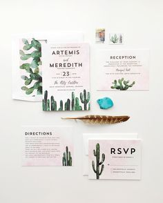 """Cacti"" - Customizable Wedding Invitations in Black or Green by Cass Loh"
