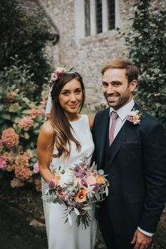 Bride & Groom - McGivern Photography | Launcells Barton Country House in Bude Cornwall | Elegant Rustic Barn Wedding | Charlie Brear Torum Gown | Ted Baker Suit | Pink Bridesmaid Dresses