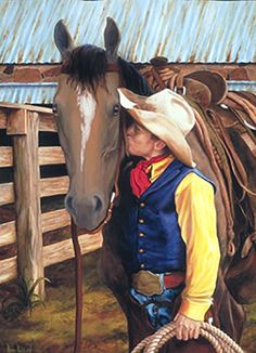 """""""First Love"""" by Patti Parrish.  Painting of a young cowboy and his first horse.  #westernart #cowboys"""