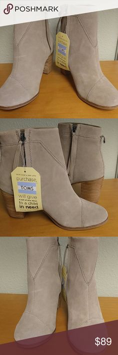 Toms Lunata Taupe colour Suede leather A brand new with tags Taupe Leather suede women's Lunata Boots TOMS Shoes Ankle Boots & Booties