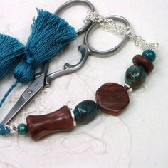 Love the Blue and Brown of this set! Teal and Cocoa Beaded Scissor Fob by TJBdesigns on Etsy, $18.00