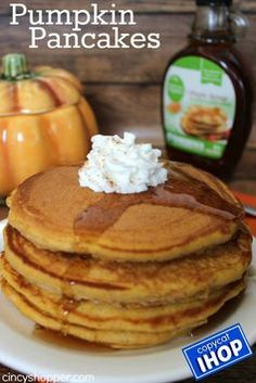 Copycat IHOP Pumpkin Pancakes - Perfect fall breakfast idea. Make at home and save $$'s.