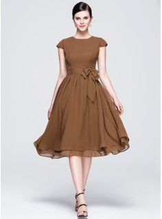 f229d42bd28 A-Line Princess Scoop Neck Knee-Length Bow(s) Zipper Up Covered Button  Sleeves Short Sleeves No Brown Spring Fall General Plus Chiffon US 2   UK 6    EU 32 ...