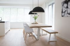 Another angle of the live edge table and bench Dining Room Bench, Solid Wood Dining Table, Dining Room Table, Dining Area, Ikea Interior, Home Interior Design, Interior Decorating, Minimalist Dining Room, Ikea Living Room