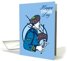 Happy Tartan Day Bagpiper Greeting card by aloysius patrimonio National Tartan Day, Holiday Cards, Greeting Cards, Retro, Happy, Prints, Christian Christmas Cards, Neo Traditional, Happiness