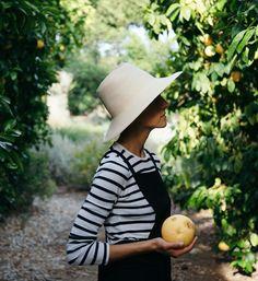 Long sleeve stripe t-shirt & pinafore dress with sun hat   @styleminimalism