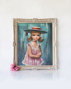 Vintage original framed big eyed girl portrait by SadRosetta, $875.00