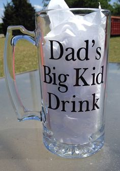 Items similar to Dad's Big Kid Drink Large Beer Mug Fun, Funny, Father's Day, Birthday Day, Gift Idea on Etsy Kid Drinks, Beer Quotes, Gifts For Beer Lovers, Glass Beer Mugs, Plastic Tumblers, Dad Mug, Personalized Cups, Mugs For Men, Painted Wine Glasses