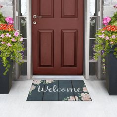 We love how the dainty water color flowers are grounded in a deep grey, ideal for matching to front door decor with planter arrangements! Welcome Flowers, Recycled Rubber, Doormats, Welcome Mats, Front Door Decor, Gray Background, Floor Rugs, Watercolor Flowers, Eco Friendly