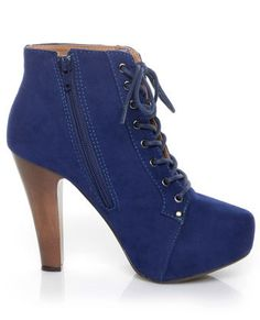 Blue (not)Suede Shoes? Yes, please. Qupid Puffin 06 Royal Blue Velvet Lace-Up Booties. $45