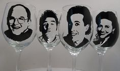 Seinfeld, Hand Painted Glasses, Painted Wine Glasses