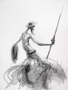 Don Quichotte ... la recherche par Marcel Nino Pajot Figure Painting, Painting & Drawing, Cool Drawings, Drawing Sketches, Man Of La Mancha, Marcel, Don Miguel, Art For Art Sake, Fantasy Landscape
