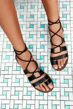 faryl robin + Free People Womens Vegan Maddie Tie Up Sandal. Strappy vegan leather sandals with lace-up design.