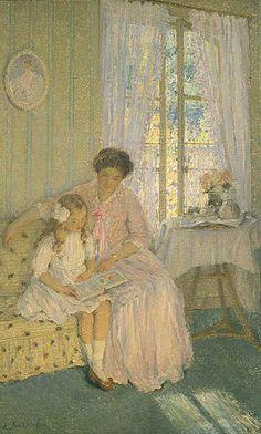 The lesson. Emanuel Phillips Fox (1865–1915) Australian Naturalist painter.  Art - Mother & Child