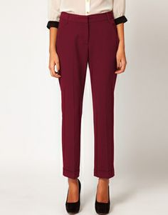 """ASOS Pants With Jet Pocket in """"Berry"""" available on ASOS"""