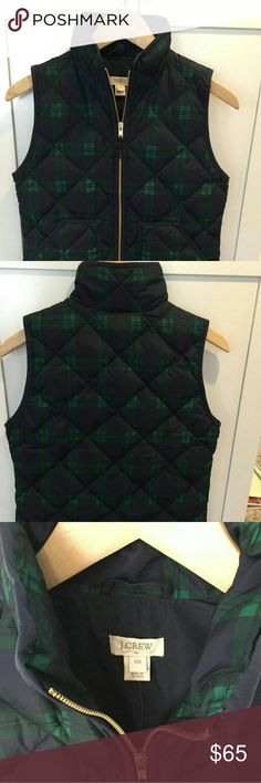 J CREW plaid quilted puffer vest Navy green plaid/tartan. Perfect, new, with tags. J. Crew Jackets & Coats Vests