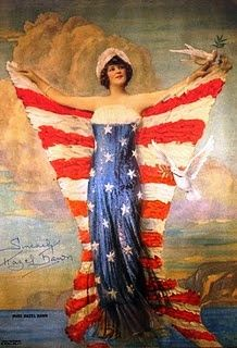 Ms Liberty ~ Miss Hazel Dawn of July Inspiration; Independence Day, the red white and blue, stars and stripes! Vintage Cards, Vintage Postcards, Vintage Images, Vintage Stuff, American Pride, American Flag, American History, American Girl, Colorado Springs