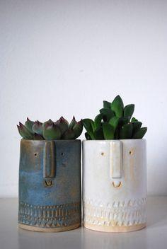 Little succulent or cacti pot in danish blue glaze
