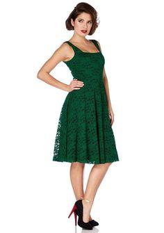 Women's Voodoo Vixen Lace Flare Dress Green Retro Vintage Rockabilly Pin Up #VoodooVixen #dresses