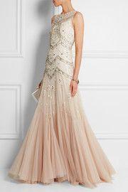 Embellished dégradé tulle gown