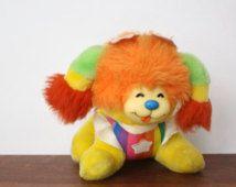 VINTAGE PUPPY BRITE Rainbow Brite Dog Plush 80s Hallmark Mattel Rainbow Bright Stuffed Animal 1983