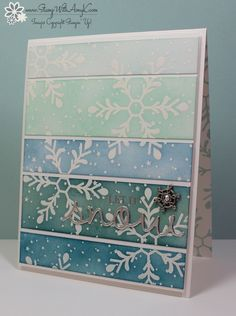 Holly Jolly Greetings Ombre Card (Stamp With Amy K) Stampin' Up! Holly Jolly Greetings Ombre CardStampin' Up! Homemade Christmas Cards, Homemade Cards, Handmade Christmas, Xmas Cards, Holiday Cards, Greeting Cards, Paint Chip Cards, Christmas Ecards, Christmas Greetings