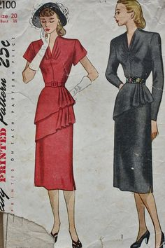 1940s One Piece Dress Asymmetrical Single or Double Tier Peplum Simplicity 2100 Vintage Sewing Pattern Bust 38