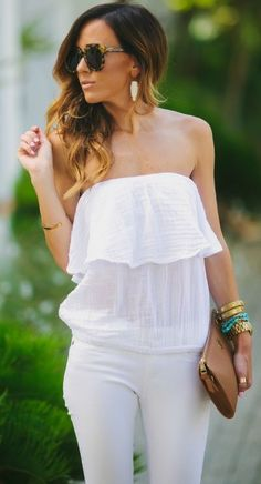 White Simple Frill Top by Sequins & Things