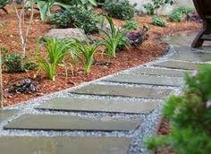 Slate with pebbles Slate Walkway, Gravel Walkway, Concrete Walkway, Garden Steps, Garden Paths, Gravel Garden, Walkway Garden, Garden Fences, Sun Garden