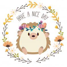 Cute hedgehog wear flower crown sitting in a flower ring Premium Vector Hedgehog Art, Cute Hedgehog, Cute Drawings, Animal Drawings, Doodles, Free Frames, Cute Illustration, Hedgehog Illustration, Background Patterns