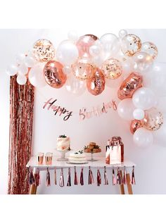 Ginger Ray Rose Gold Balloon Arch at John Lewis & Partners A great addition to any party, this Balloon Arch will be a focal point at any celebration! Sure to get your guests talking, why not try adding fresh flowers and foliage to your balloon arch? Gold Birthday Party, Birthday Roses, Birthday Balloons, 50th Birthday, Happy Birthday, Décoration Rose Gold, Rose Gold Theme, Birthday Ideas For Her, Birthday Party For Teens