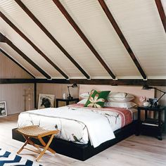 Bedroom Photos Exposed Rafters Design Ideas, Pictures, Remodel, and Decor