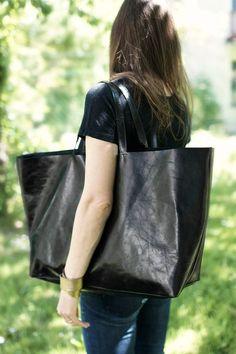 Black Oversized  Bag, everyday tote bag. $170.00, via Etsy.