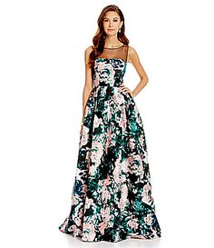 Adrianna Papell Sleeveless Floral Illusion Gown #Dillards