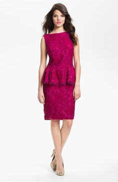Tadashi Shoji Textured Lace Peplum Dress   Nordstrom