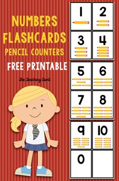 Numbers Flashcards Pencil Counters - The Teaching Aunt Preschool Learning, In Kindergarten, Fun Learning, Teaching, Number Flashcards, Flashcards For Kids, Book Activities, Preschool Activities, Number Activities